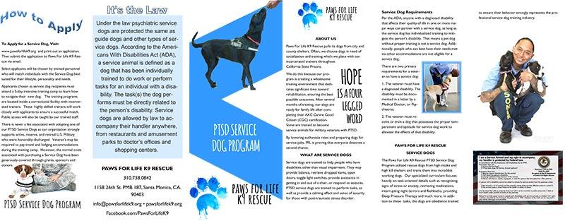 Paws For Life PTSD Training Program Brochure